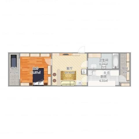 马连道西里1室1厅1卫1厨60.00㎡户型图