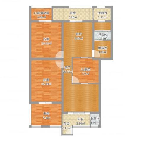 海德堡花园4室1厅1卫1厨113.00㎡户型图