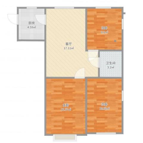 裕中西里3室1厅1卫1厨70.00㎡户型图