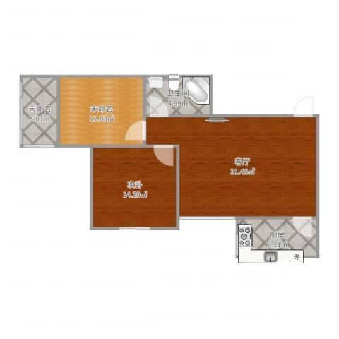 家润碧泽园1室1厅1卫1厨92.00㎡户型图