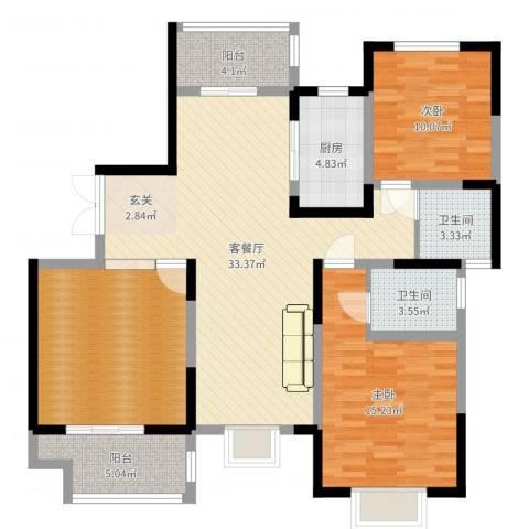 海棠花园2室2厅2卫1厨119.00㎡户型图