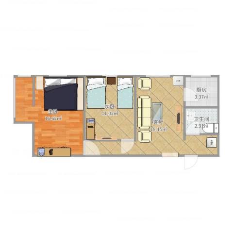 裕中西里2室1厅1卫1厨65.00㎡户型图