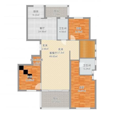 泰地世锦园3室2厅2卫1厨161.00㎡户型图