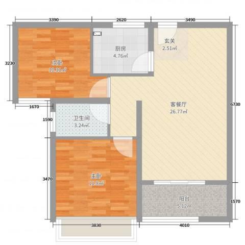 星洲国际城2室2厅1卫1厨62.00㎡户型图