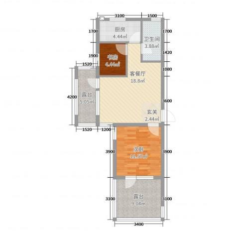 中合华府2室2厅1卫1厨66.00㎡户型图