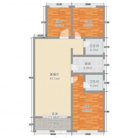 一米阳光・快乐家园3室2厅2卫1厨135.00㎡户型图