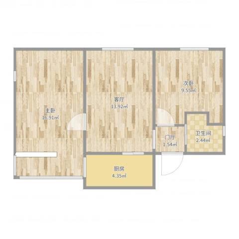 裕民东里3改22室1厅1卫1厨61.00㎡户型图