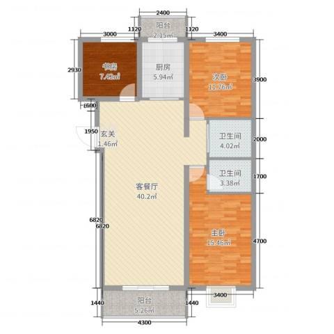 睿瀛豪庭3室2厅2卫1厨127.00㎡户型图