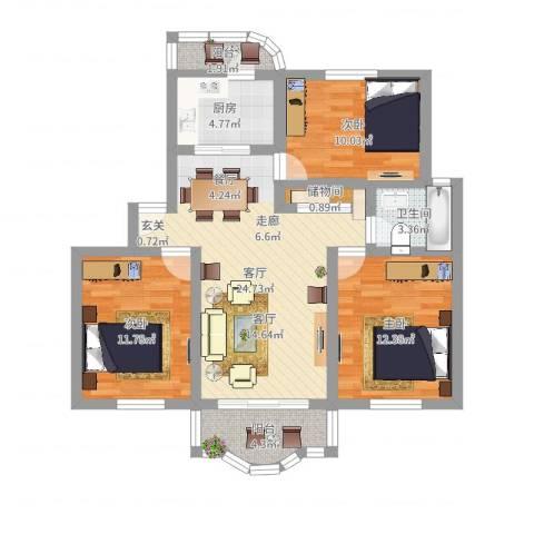 恒大华城上河苑3室1厅1卫1厨93.00㎡户型图