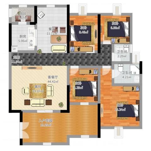 幸福城4室2厅2卫1厨168.00㎡户型图
