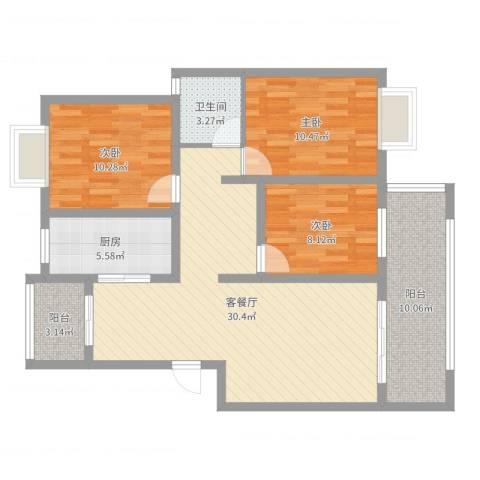 蓝庭国际3室2厅1卫1厨102.00㎡户型图