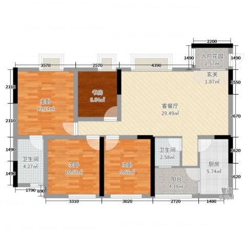 保利锦湖林语4室2厅2卫1厨105.00㎡户型图