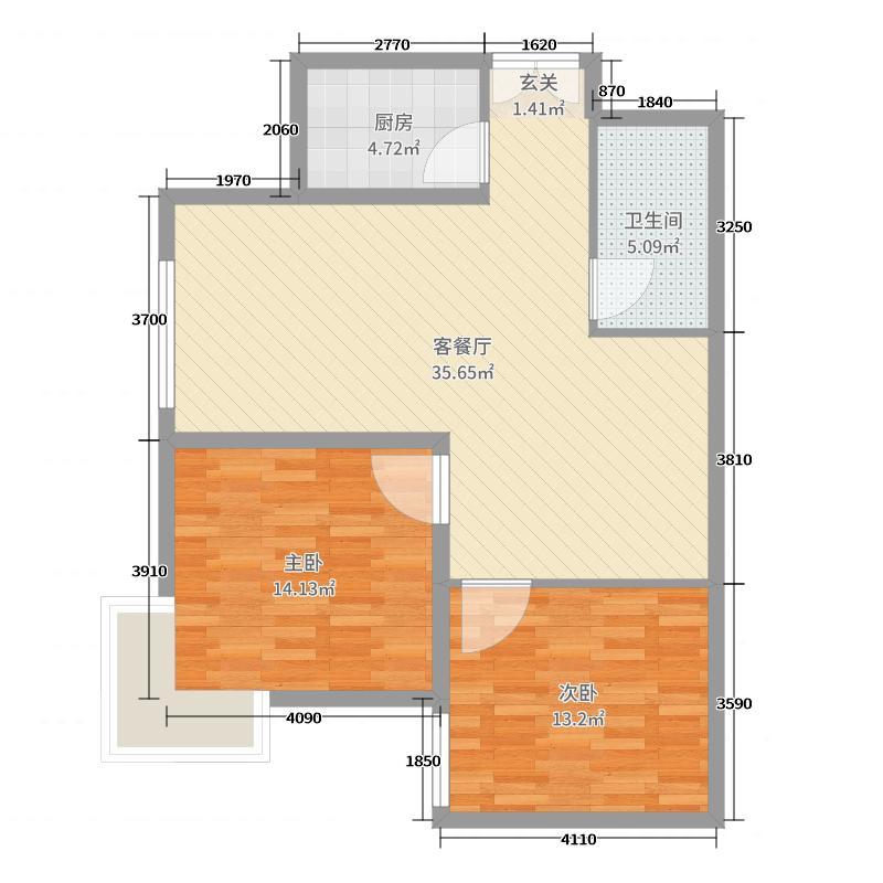 欧尚花园90.91㎡4#5#C2户型2室2厅1卫1厨