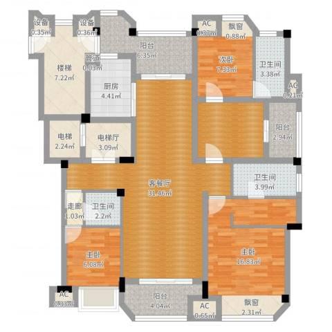 保利紫晶山3室2厅3卫1厨140.00㎡户型图