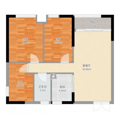 怡雅苑3室2厅1卫1厨79.00㎡户型图