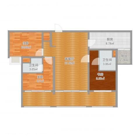 中海名钻3室2厅2卫1厨114.00㎡户型图