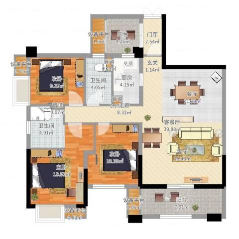 泰然环球时代中心3室2厅2卫1厨132.00㎡户型图