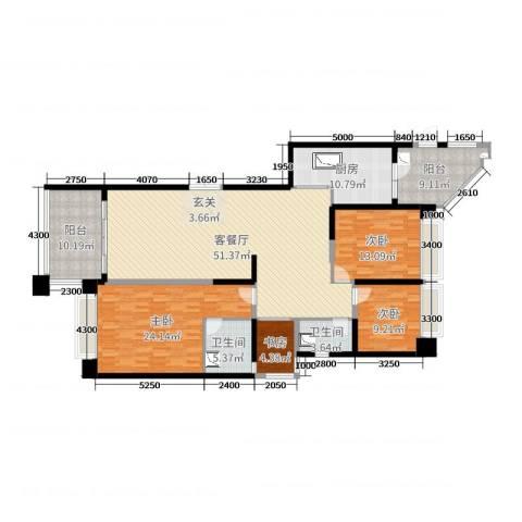 恒大华府4室2厅2卫1厨173.00㎡户型图