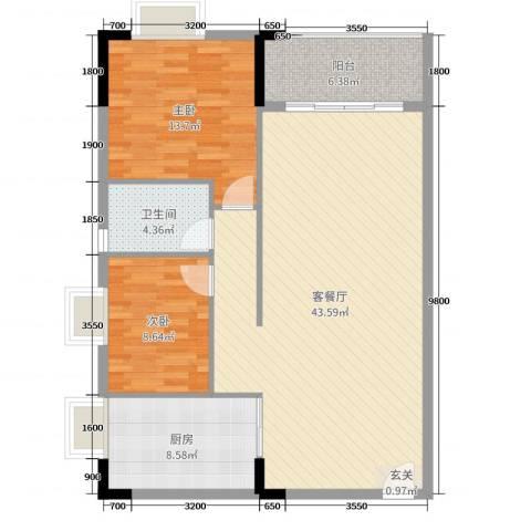 倚绿山庄・尚院2室2厅1卫1厨103.00㎡户型图