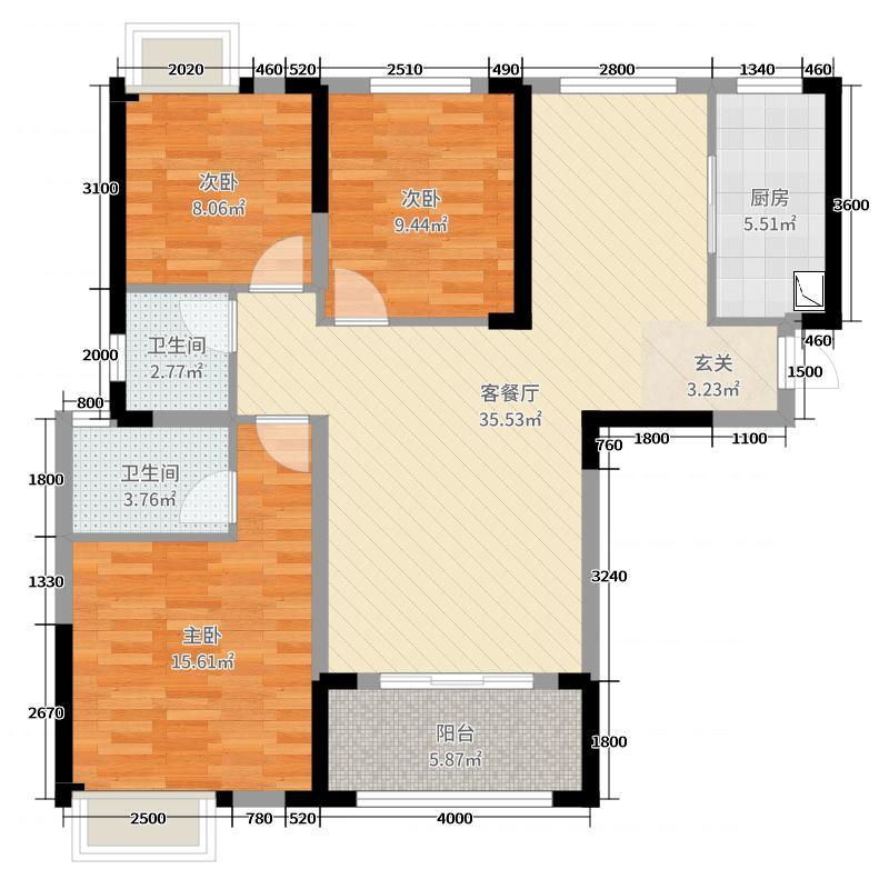 御江一品117.00㎡15号楼S户型3室3厅2卫1厨