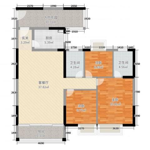 东莞时代华庭3室2厅2卫1厨125.00㎡户型图