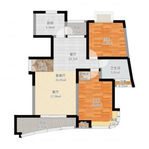 云山星座苑2室2厅1卫1厨100.00㎡户型图