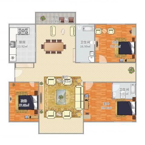 云山星座苑3室1厅2卫1厨391.00㎡户型图