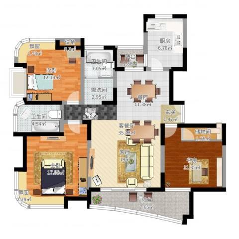 云山星座苑3室2厅3卫1厨128.00㎡户型图