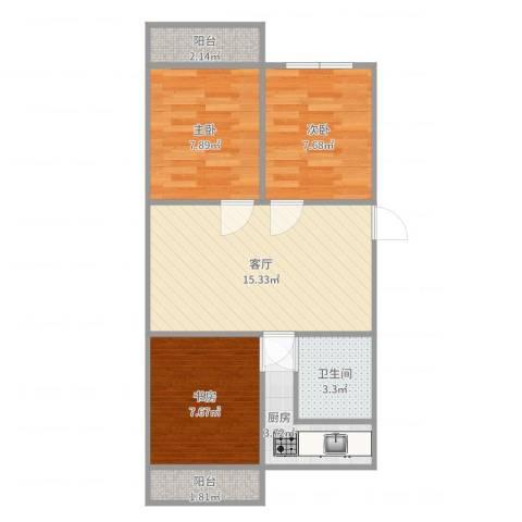云莲苑3室1厅1卫1厨49.54㎡户型图