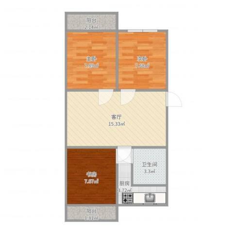 云莲苑3室1厅1卫1厨62.00㎡户型图