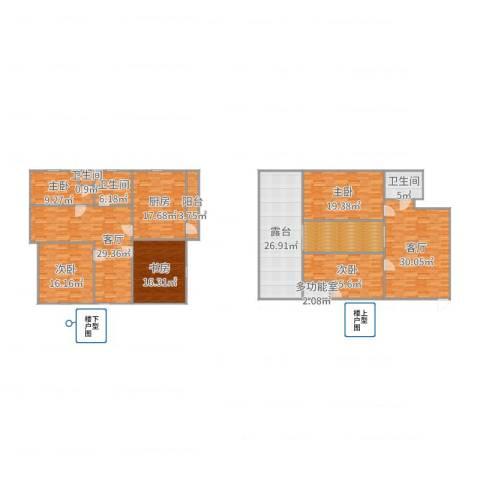 云川公寓5室2厅3卫1厨264.00㎡户型图
