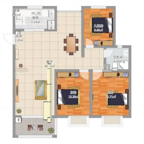 昌和时代3室1厅1卫1厨131.00㎡户型图