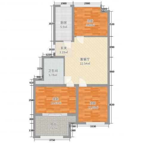 紫金园翡翠花园3室2厅1卫1厨93.00㎡户型图