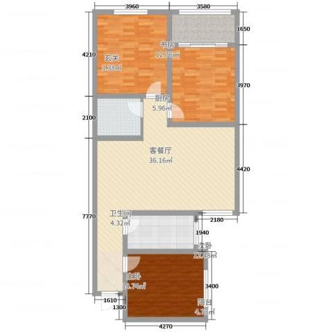 龙溪香岸3室2厅1卫1厨114.00㎡户型图