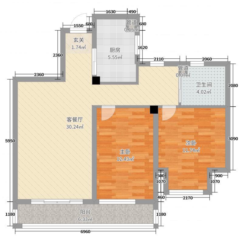 新湖・御景国际88.14㎡A1(2)户型2室2厅1卫1厨