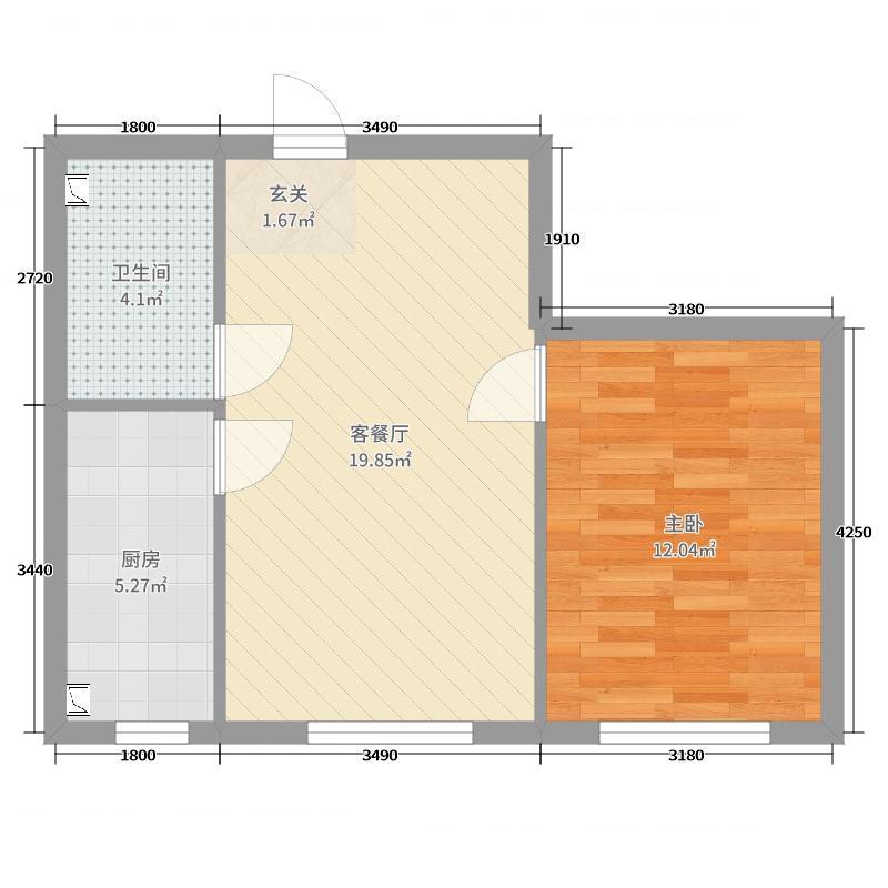 佳泰丽景大厦64.36㎡c2户型1室1厅1卫1厨