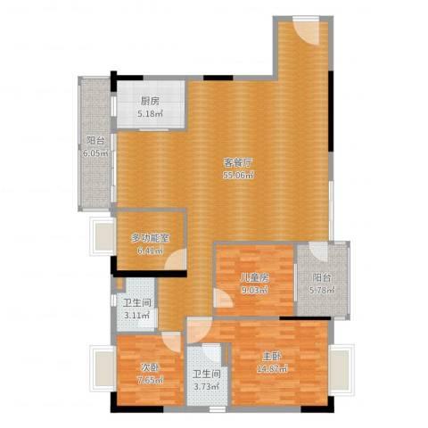 恒达花园二期3室2厅2卫1厨146.00㎡户型图