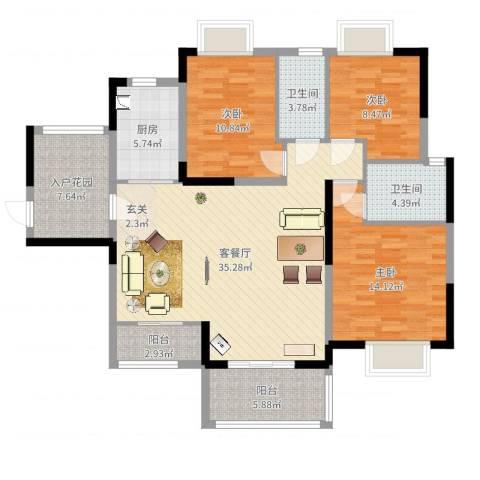 香槟壹号3室2厅2卫1厨124.00㎡户型图