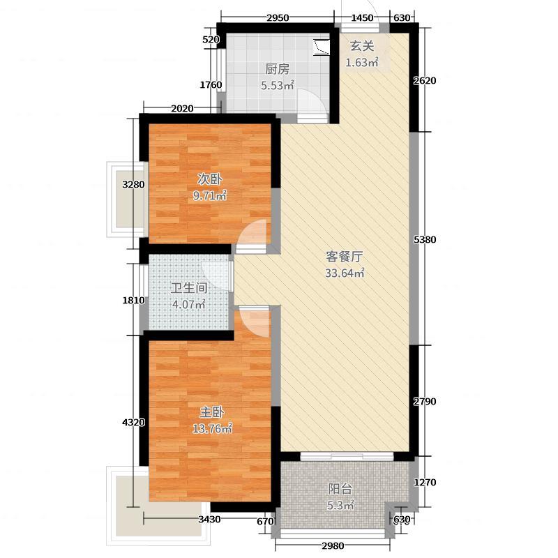 通利紫荆尚都89.78㎡二期8、5、15、13号楼C1-2户型2室2厅1卫1厨