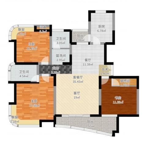 云山星座苑3室2厅2卫1厨128.00㎡户型图