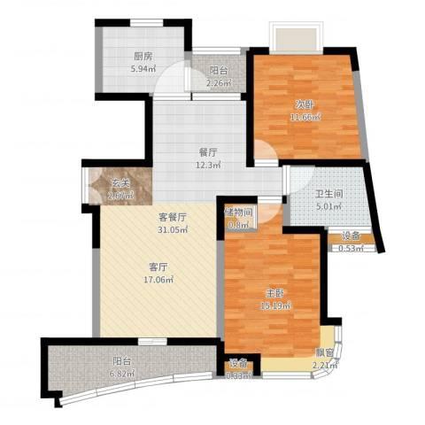 云山星座苑2室2厅3卫1厨100.00㎡户型图