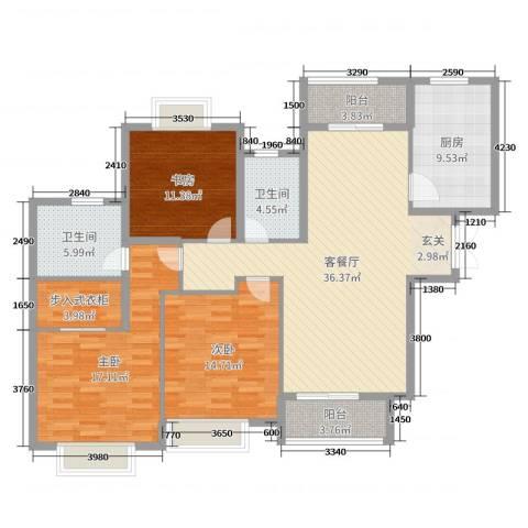 嘉里云荷廷3室2厅2卫1厨139.00㎡户型图