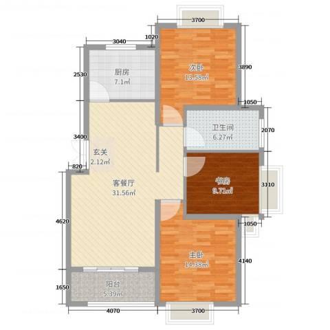 嘉里云荷廷3室2厅1卫1厨110.00㎡户型图
