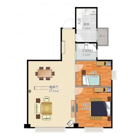 万达广场公寓2室2厅1卫1厨93.00㎡户型图