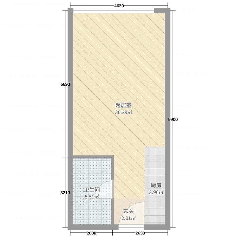 润扬新城52.27㎡公寓户型1室1厅1卫1厨