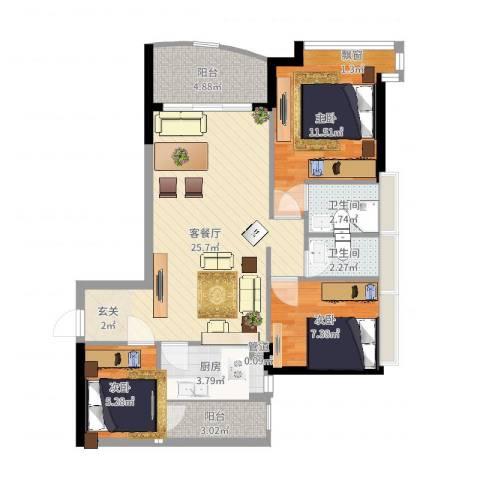 华景新城芳满庭园3室2厅2卫1厨83.00㎡户型图