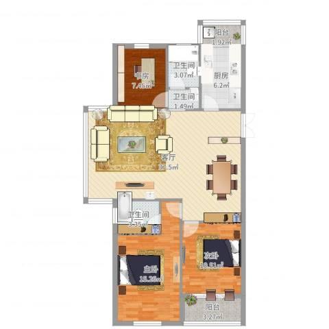书香苑3室1厅3卫1厨113.00㎡户型图