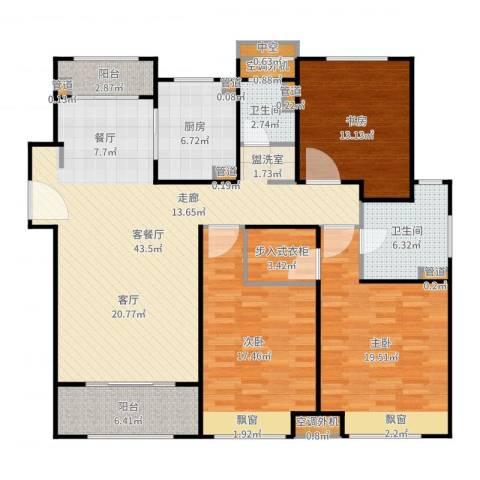 保利天琴宇3室2厅2卫1厨157.00㎡户型图