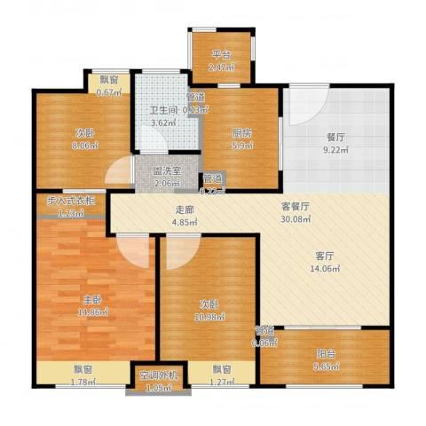 保利天琴宇3室2厅1卫1厨105.00㎡户型图