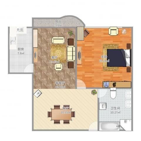 多伦多(民达大厦)1室2厅1卫1厨86.59㎡户型图